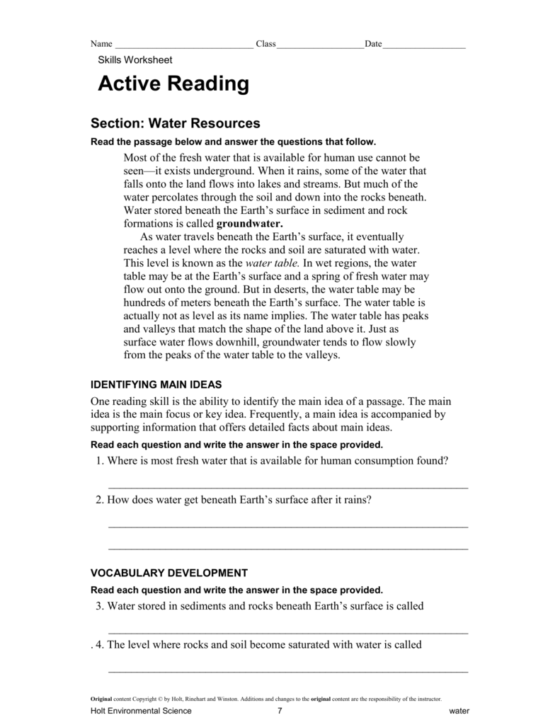 Active Reading Water Resources