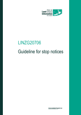 Guideline for stop notices - Land Information New Zealand