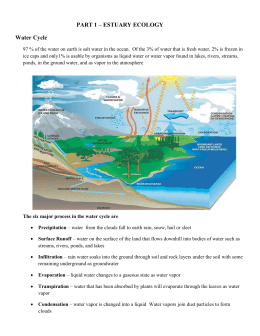 PART 1 – ESTUARY ECOLOGY Water Cycle 97 % of the water on