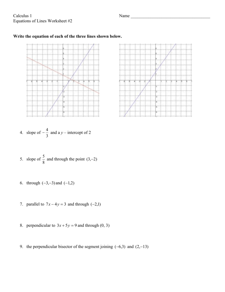 writing equations of lines worksheet An equation in the slope-intercept form is written as $$y=mx+b$$ where m is the slope of the line and b is the y-intercept you can use this equation to write an equation if you know the slope and the y-intercept.
