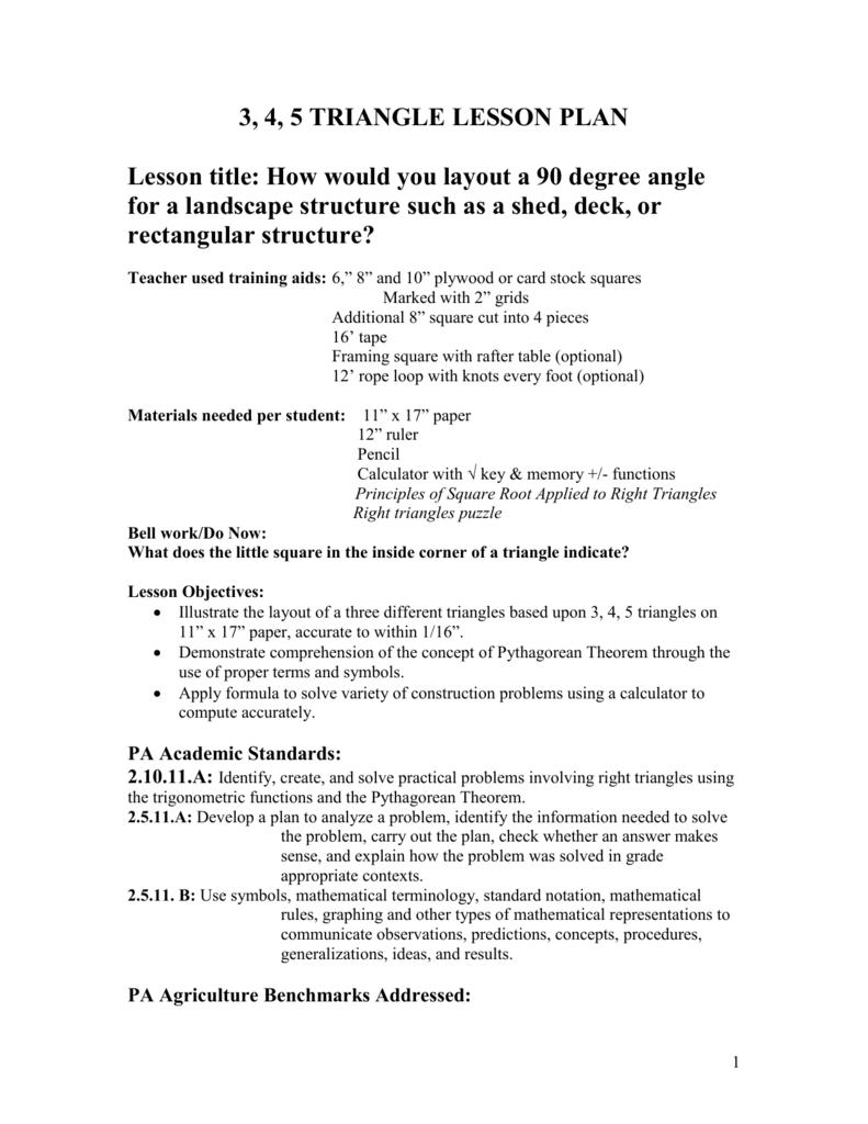 3 -4-5 Triangle Lesson Plan
