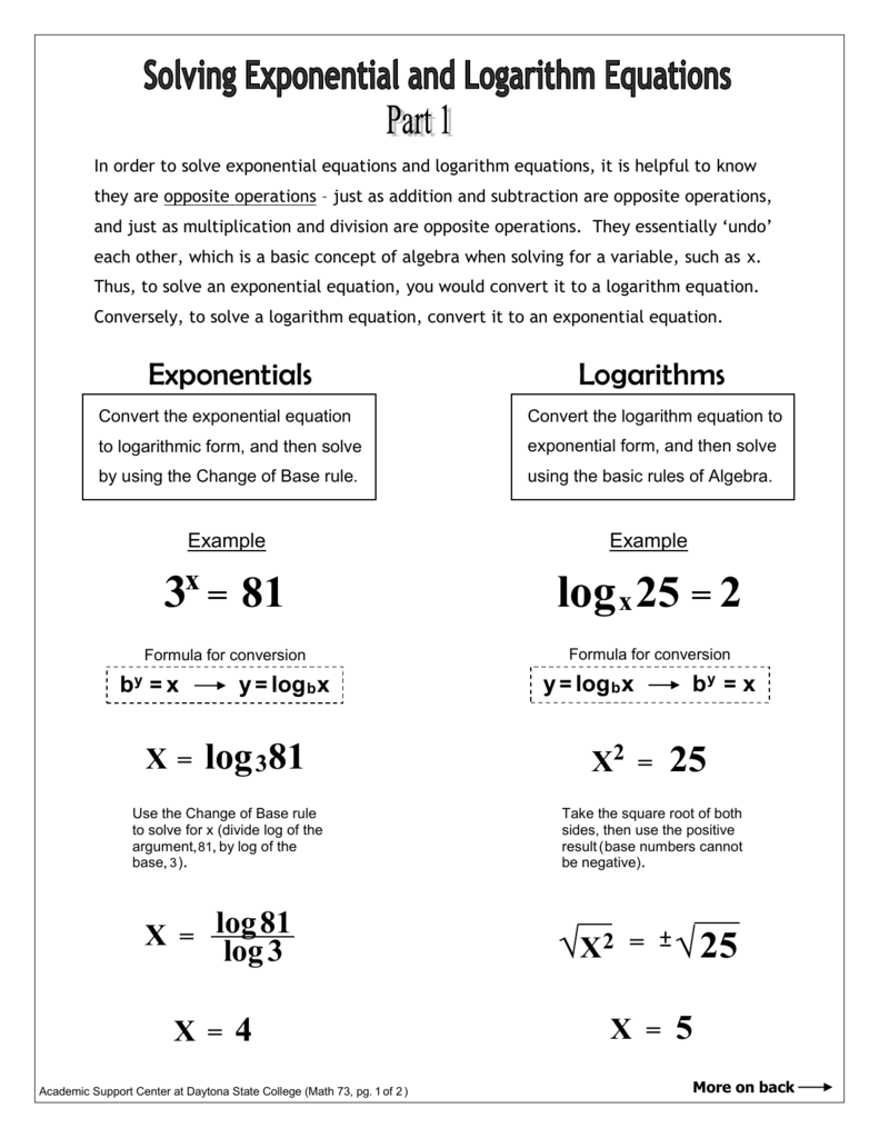 worksheet Solving Exponential And Logarithmic Equations Worksheet in order to solve exponential equations and logarithm it is