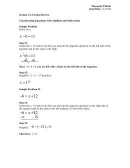 Solving Equations Study Guide 2