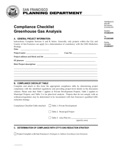 Compliance Checklist Greenhouse Gas Analysis