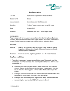Inspections, Logistics and Projects Officer job description