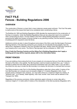 Fences Building Regulations - Mornington Peninsula Shire