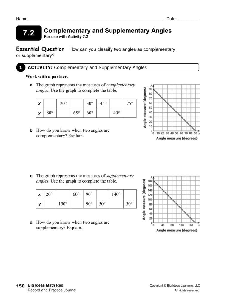 worksheet Supplementary And Complementary Angles Worksheet 7 2 journal answers complementary and supplementary angles