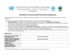 Checklist for Environmental and Social Safeguards