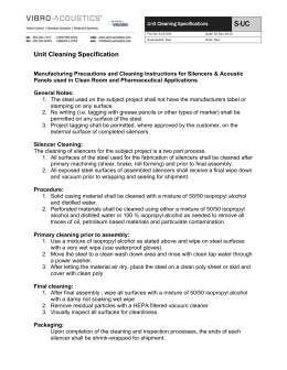 Unit Cleaning Specifications