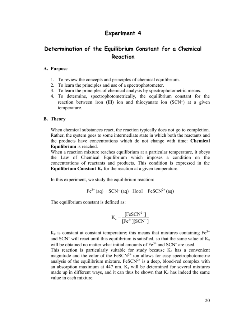 Determination of the Equilibrium Constant for a Chemical