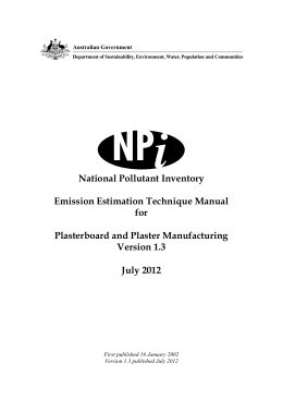 National Pollutant Inventory (NPI) Emission Estimation Technique