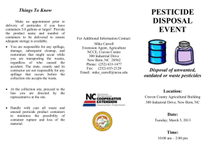 Disposal of unwanted, outdated or waste pesticides