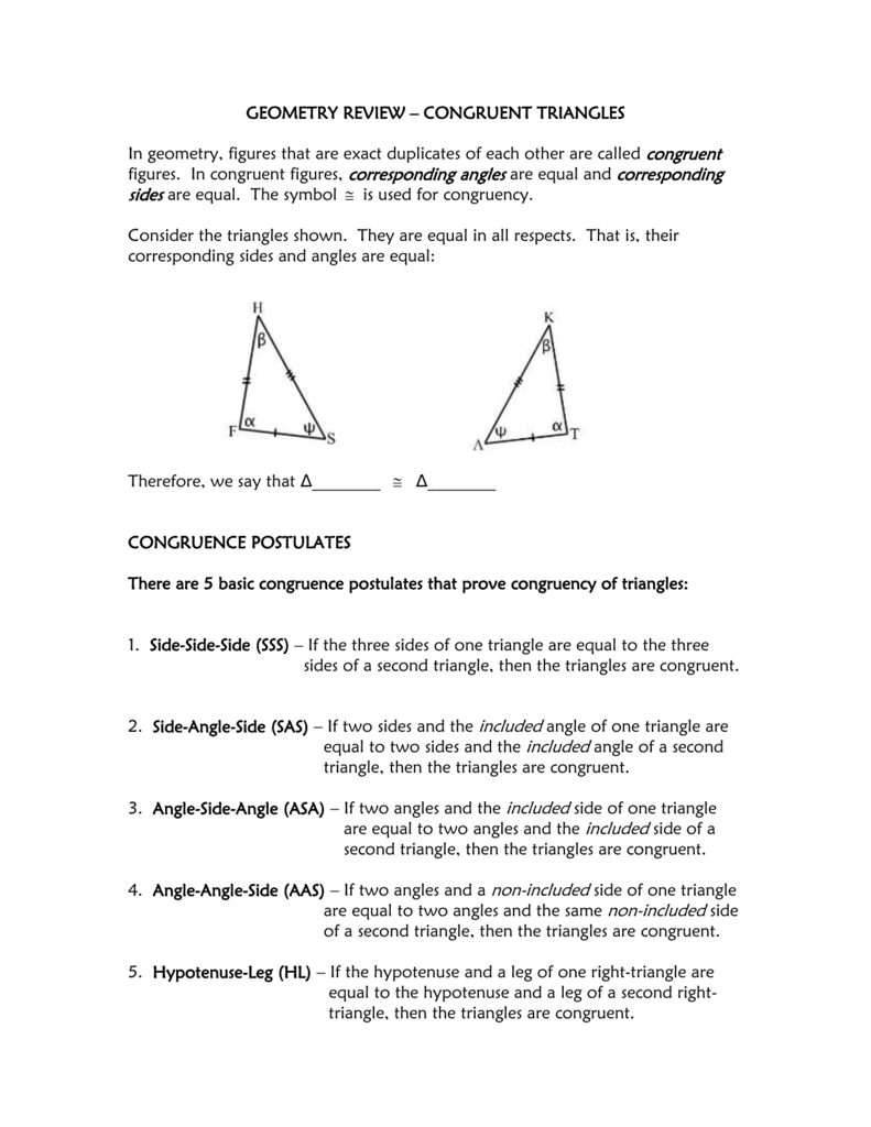 Geometry Review Congruent Triangles