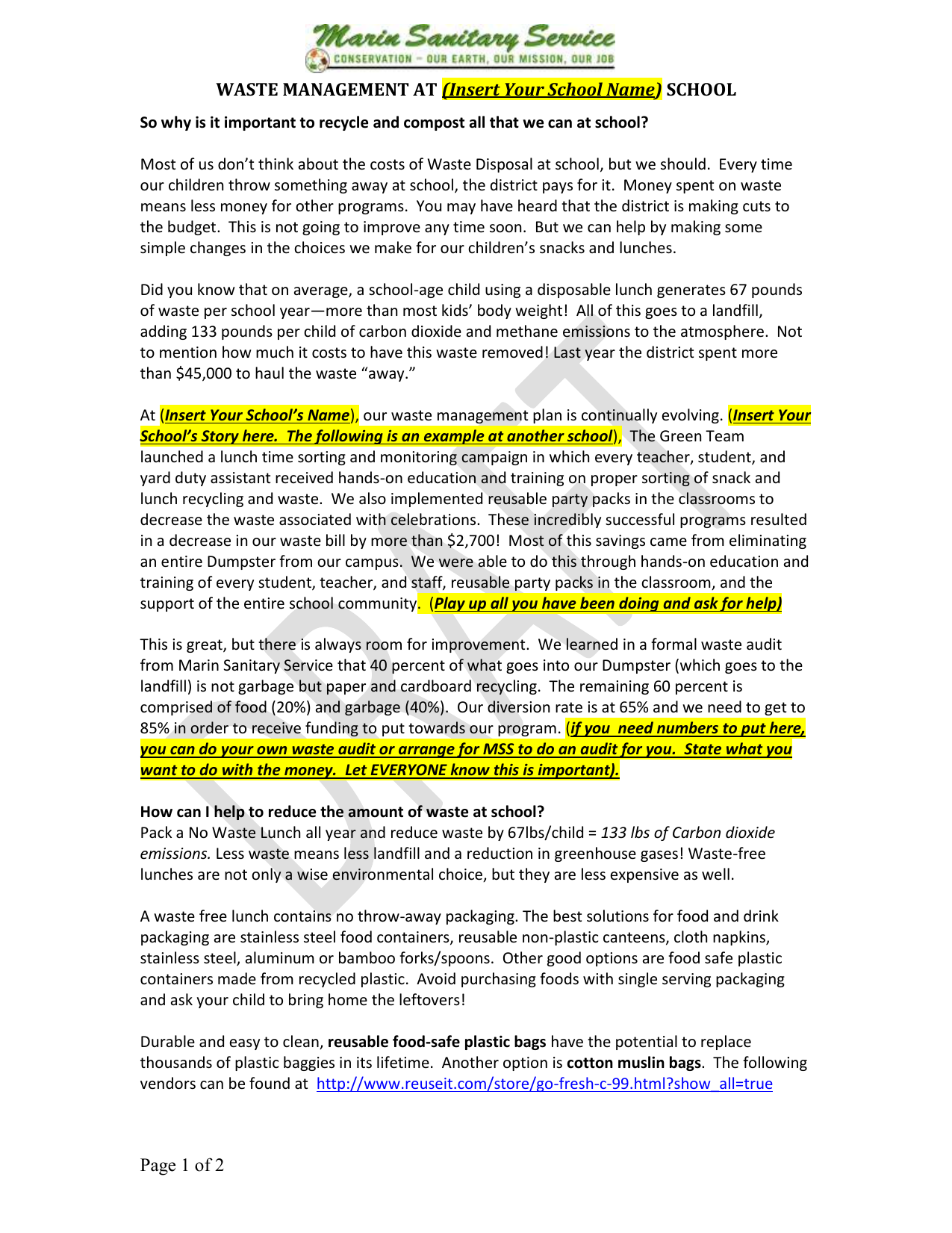 3  Sample Waste Reduction Plan Letter to Parents