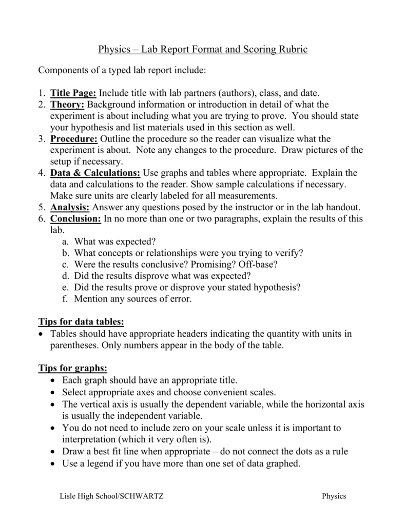 how to write a lab report physics high school The thought of writing lab reports can be disturbing to most school or college students writing lab reports in any science related field is mandatory while professors may demand students to write quality lab reports, they may not be aware that some students have little or no skills to create a good report  steps of writing lab report.