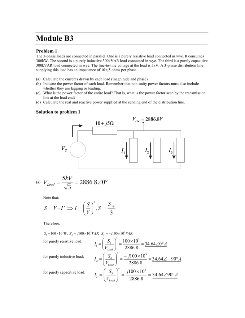 Module B3 Problem 1 The 3 Phase Loads Are Connected In Parallel Series Ac Circuit With Resistive