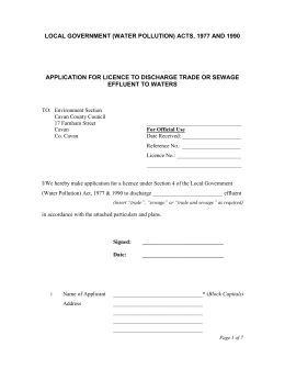 S4 - Effluent Discharge Licence Application For