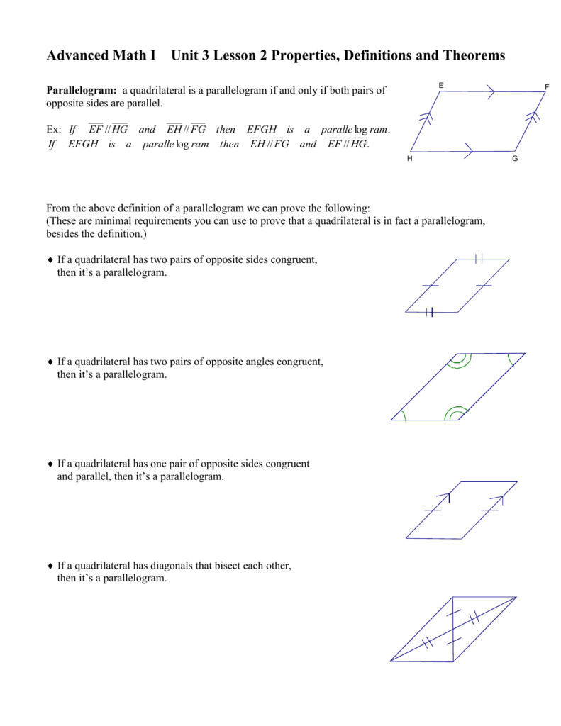 Unit 3 Lesson 2 Properties & Theorems