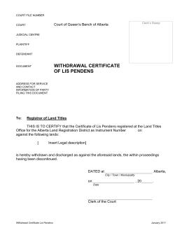 Withdrawal Certificate of Lis Pendens