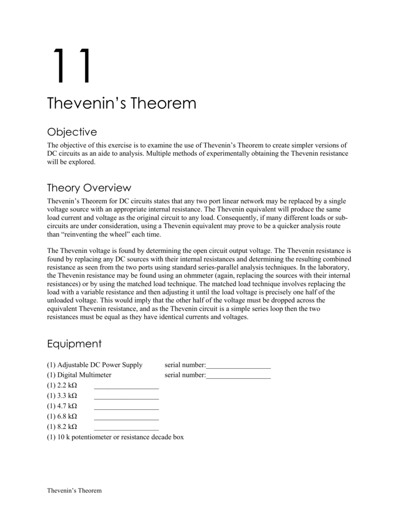 11 Thevenins Theorem Basic Dc Theory Circuit Analysis All Of The