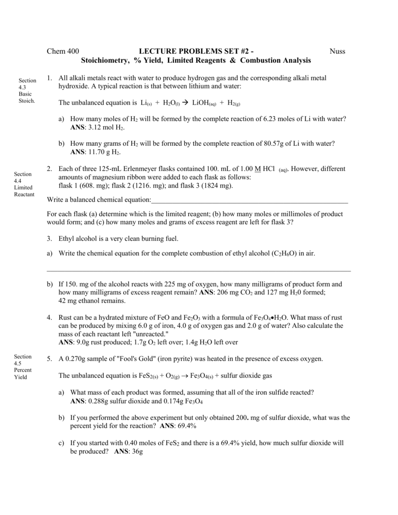 Lecture Problems Set 2 – Combustion Analysis Worksheet