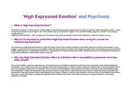 High Expressed Emotion - Oxford Health NHS Foundation Trust