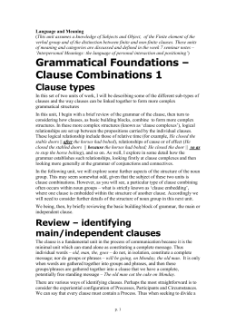Grammatical Foundations – Clause Combinations 1