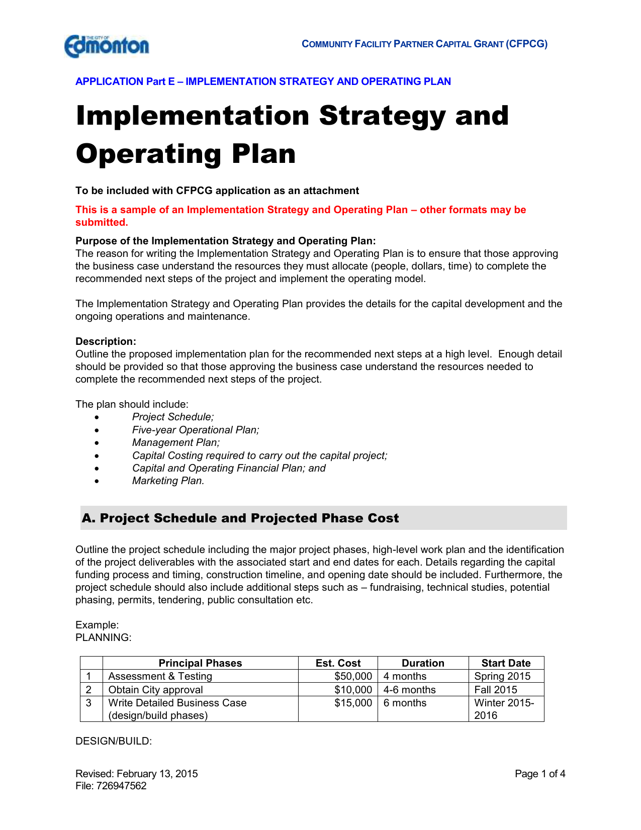 Implementation Strategy And Operating Plan