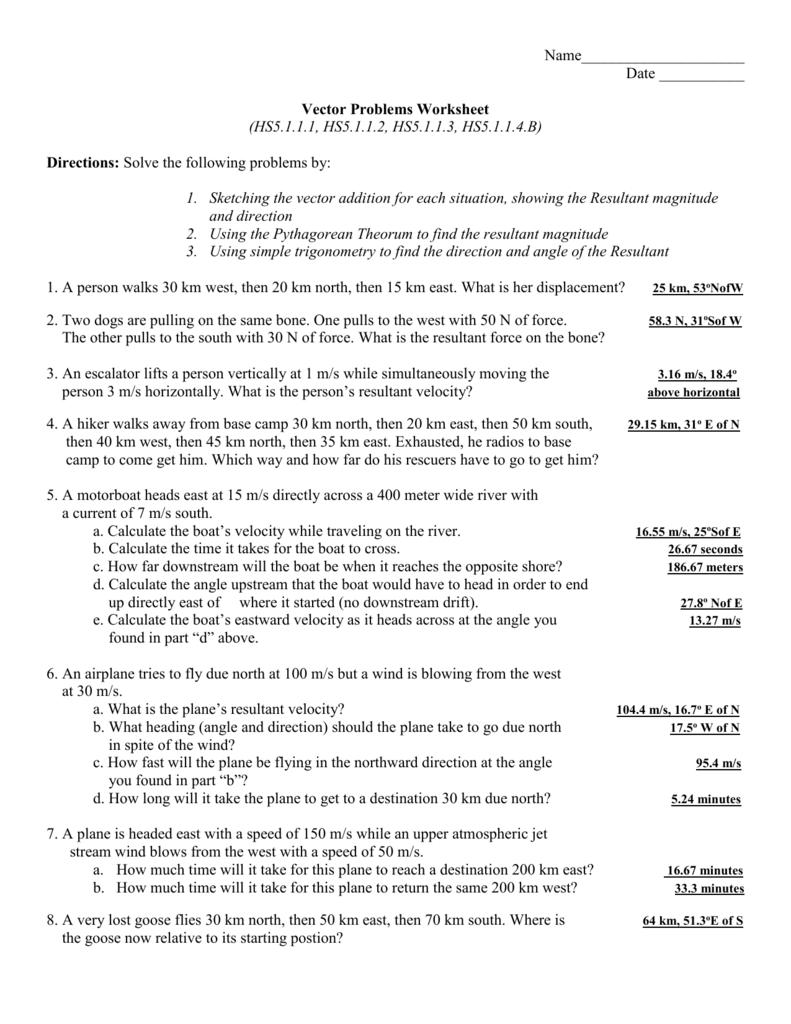 Vector Problems Worksheet