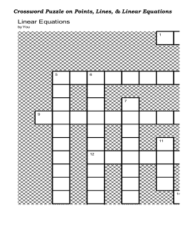 Crossword Puzzle on Linear Equations