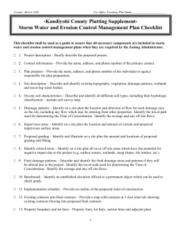 Preliminary Plat Storm water and Erosion Control Checklist