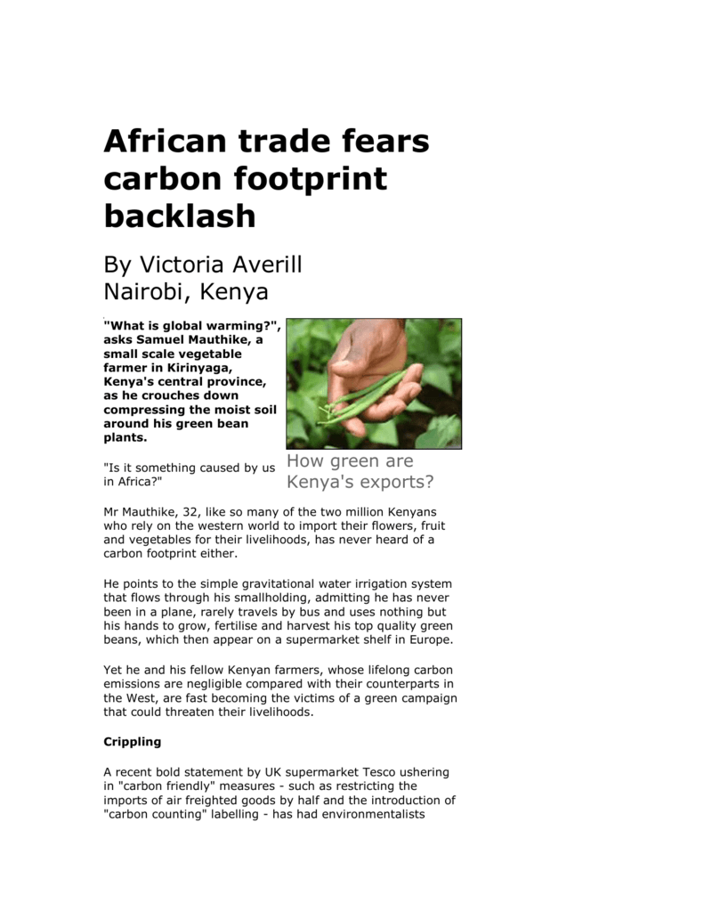 African trade fears carbon footprint backlash