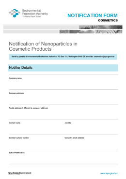 Notification of Nanoparticles in Cosmetic Products Form