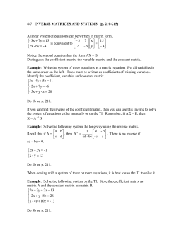 4-7 Inverse Matrices and Systems