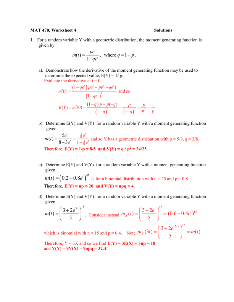 Solutions for Moment Generating Function worksheet – Evaluating Functions Worksheet