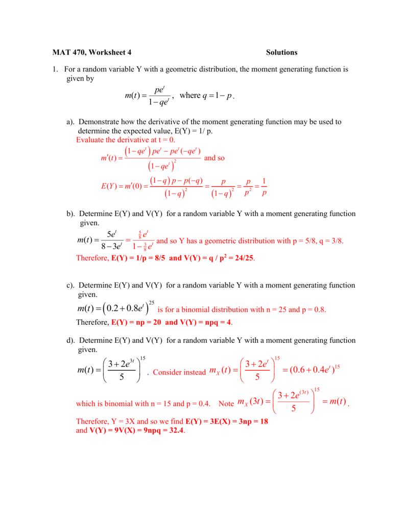 Worksheets Evaluating Functions Worksheet solutions for moment generating function worksheet
