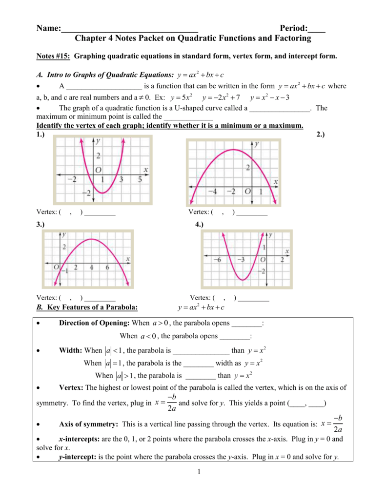 Chapter 4 notes packet on quadratic functions and factoring falaconquin