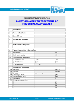 questionnaire regarding industrial waste water (basis of treatment