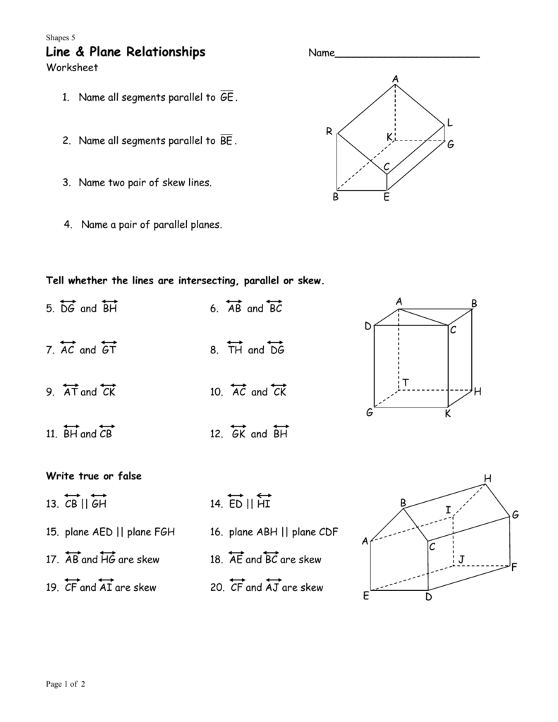 worksheet Parallel Lines And Planes Worksheet relationships of lines and planes