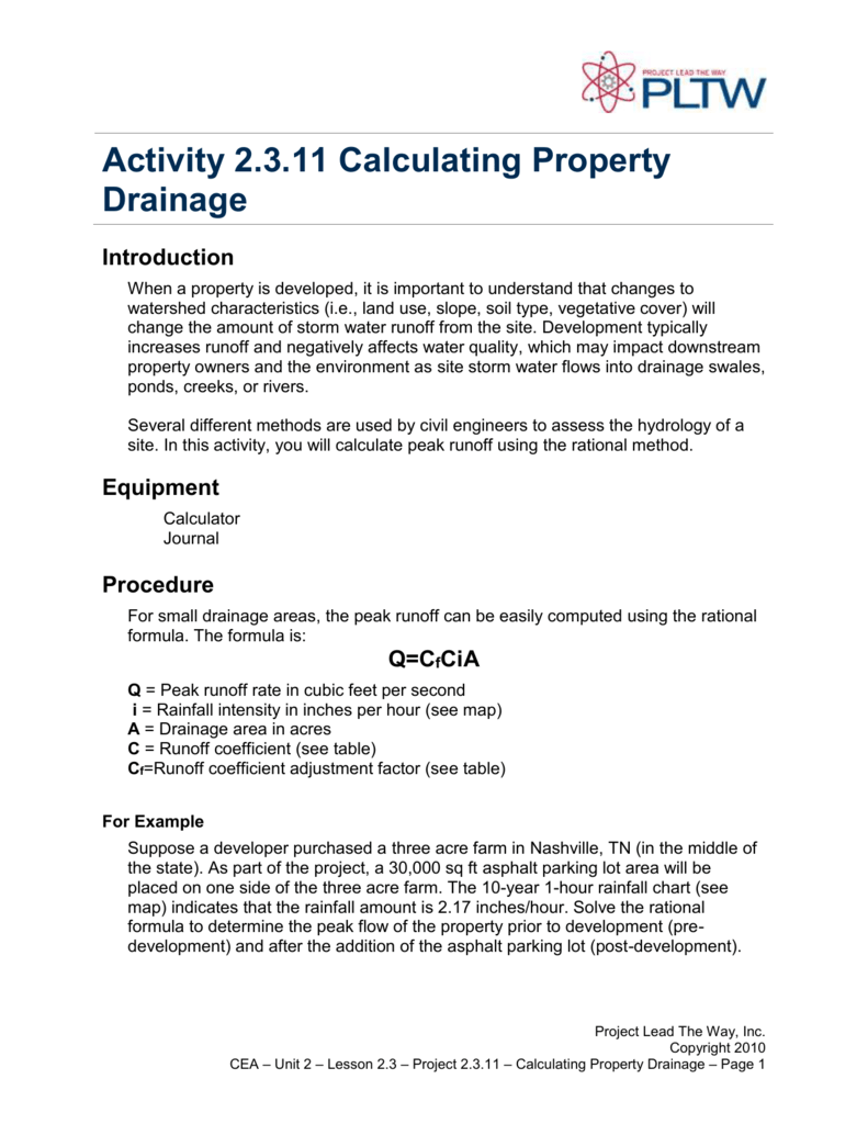 Activity 2 3 11 Calculating Property Drainage