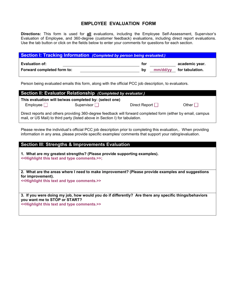 evaluation form comments  EMPLOYEE EVALUATION FORM