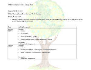 AP Environmental Science Activity Sheet Week of March 31, 2014