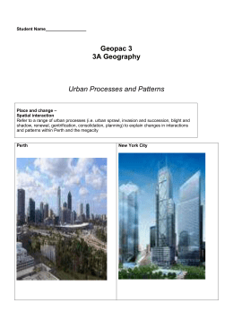 Geography 3A - Urban Processes and Patterns