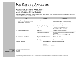 JOB SAFETY ANALYSIS - Environment, Health & Safety