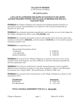 6-2014 Tax Bylaw - Village of Empress