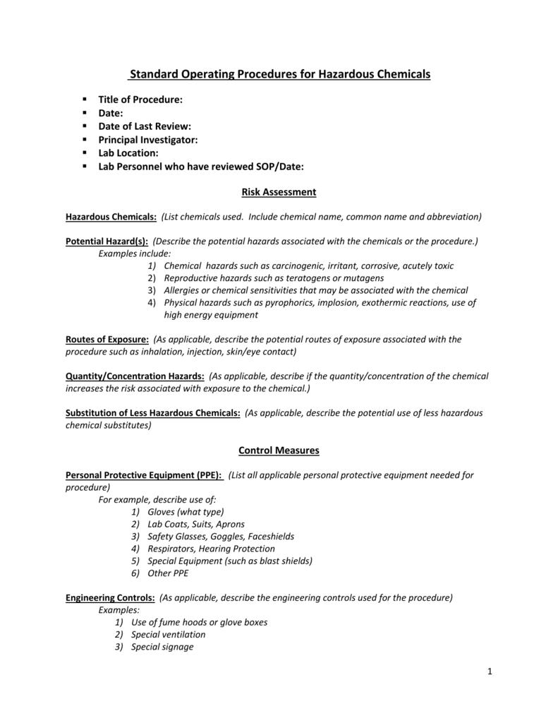 Hazardous Chemical SOP (Word document)