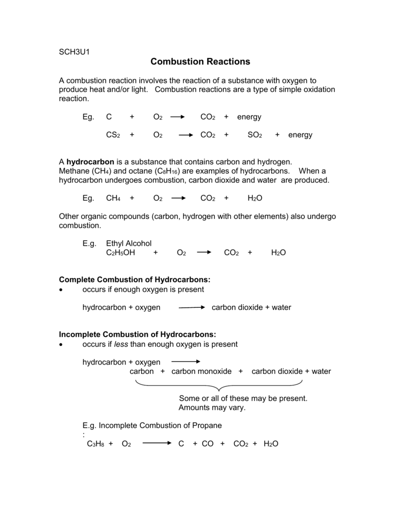 Uncategorized Combustion Reaction Worksheet sch3u combustion reactions handout and worksheet