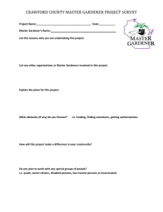CRAWFORD COUNTY MASTER GARDENER PROJECT SURVEY