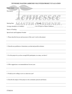 TENNESSEE MASTER GARDENER PROJECT