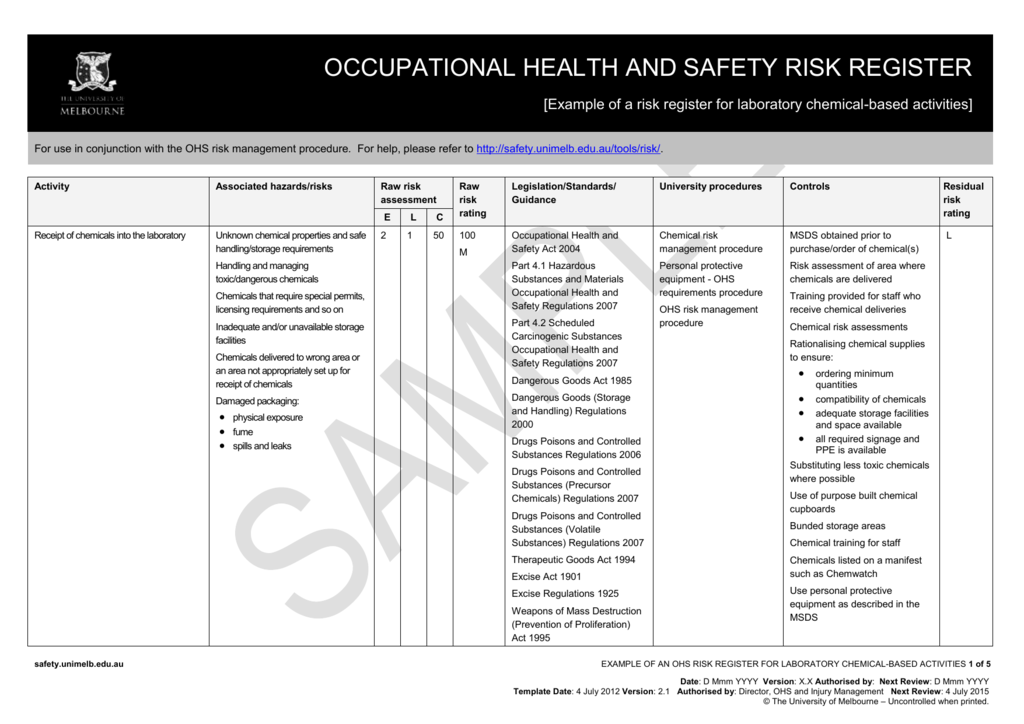 example of an ohs risk register for chemical laboratories. Black Bedroom Furniture Sets. Home Design Ideas